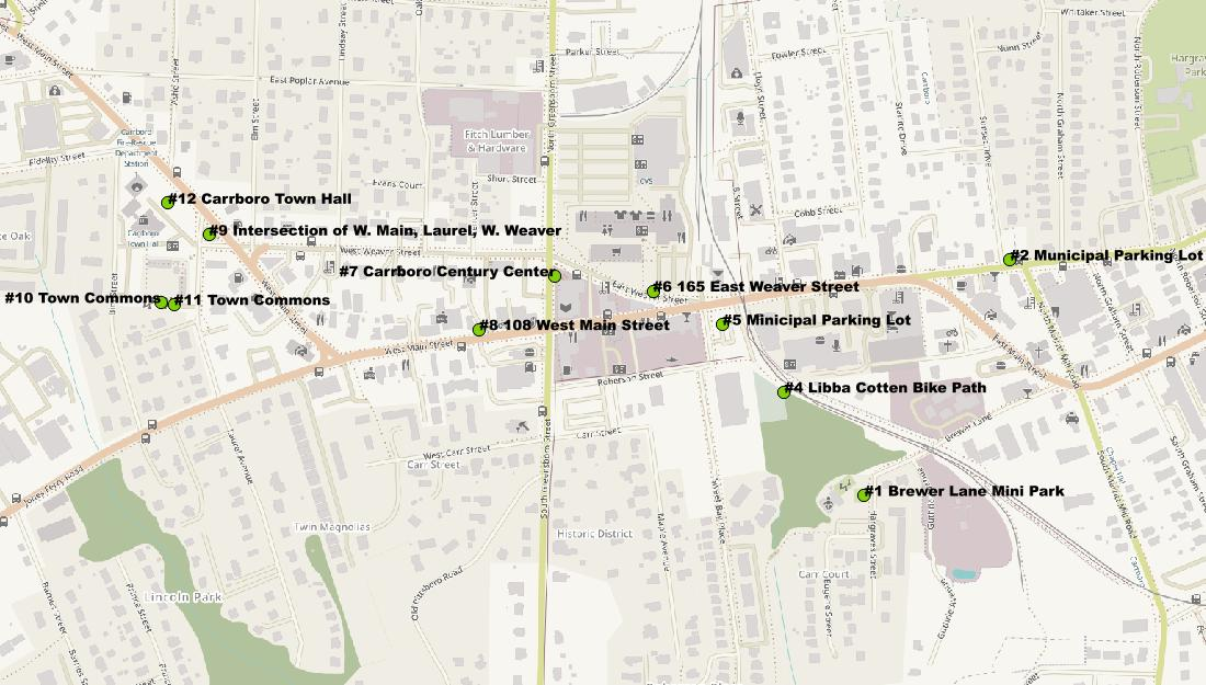 Downtown Carrboro Urban Forestry Map